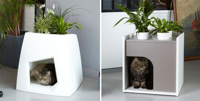 Bedside table with a place for a mustache pet from Pousse Creative.