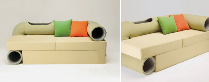 Sofa with tunnels for cats from Seungji Mun.