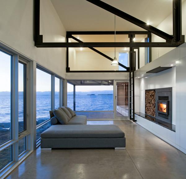 Beautiful living room Atlantic Ocean view at Sunset Rock House, Nova Scotia