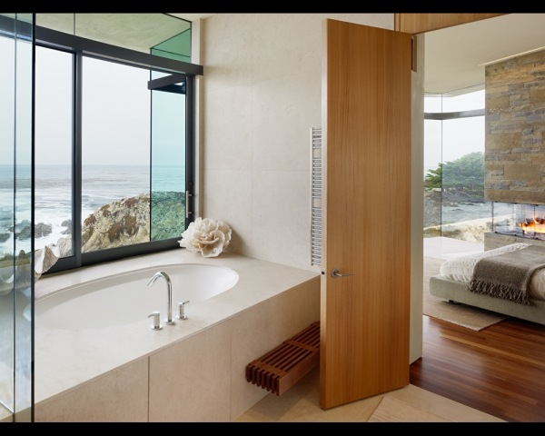 Pacific View Bathroom (and peek of bedroom) near Carmel, CA