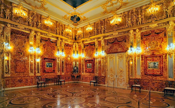 The Amber Room in the Catherine Palace, Russia.