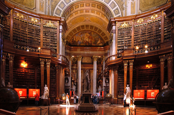 The Prunksaal, the centre of the old imperial library, now part of the Austrian National Library, Vienna.