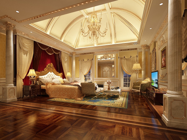 Regal bedroom with lots of room for activities