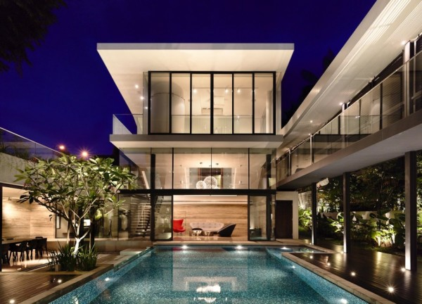The pool is the focal point of the house.