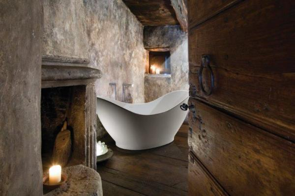 simple and rustic bathroom that looks like the inside of the Alamo